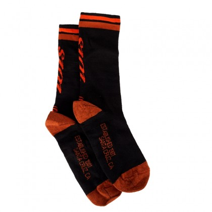 "Socks - Wool 7"" Cuff - Black + Orange stripes"