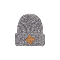 Beanie - Chunky Knit with leather patch image 1